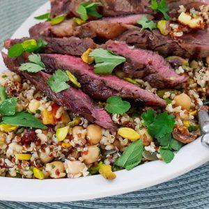 ancient grain, fig & haloumi salad