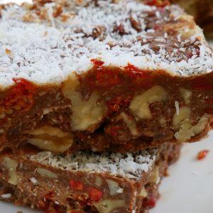 carob walnut slice