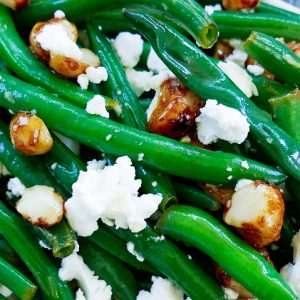 green bean & roasted macadamia salad with lime dressing