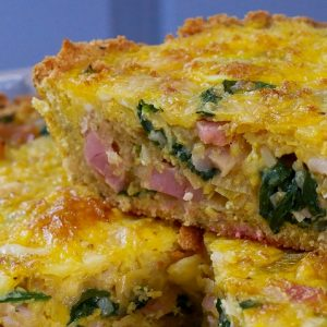 leek, spinach & bacon pie