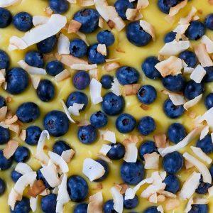lemon & blueberry coconut tart