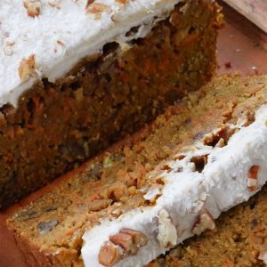lupin carrot cake with coconut butter icing