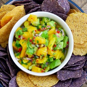 mango avocado salsa with lime ginger dressing