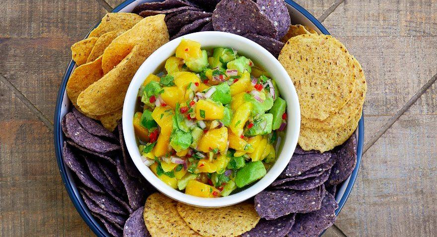 bowl of Mango avocado salsa