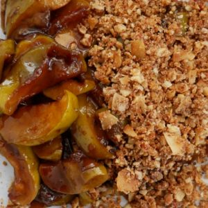miso apples with macadamia and pecan crumble