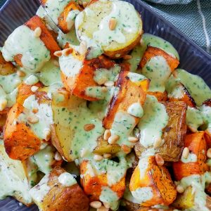 roast potato salad with zesty basil mayo