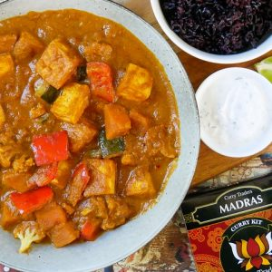 tofu vegetable madras and black rice (with curry traders spice express kit)