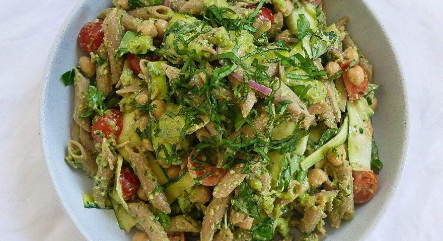 Organic Teff Pasta Salad with Macadamia Ricotta