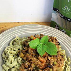 Vegan Lentil and Black Bean Bolognaise with Lion's Mane Mushroom