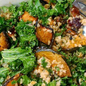 roast pumpkin salad with basmati and kale