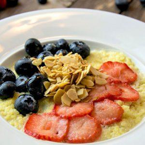 Skin Loving Blueberry & Collagen Creamy Millet Porridge (GF/DF)